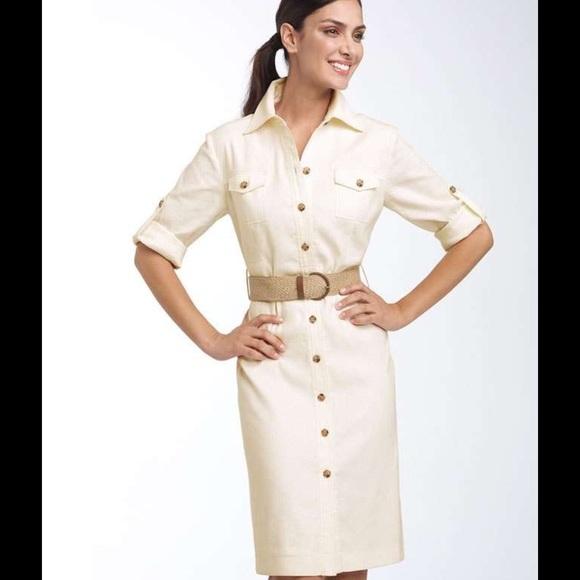fa4ef39e386 Tahari Arthur S. Levine Linen Safari Shirtdress. M 553412adafcd0e08cc0095a5