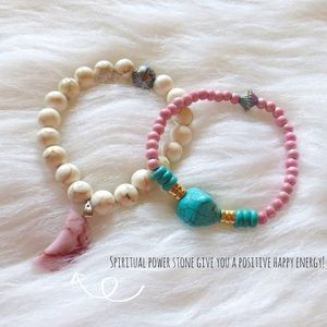Jewelry - = Pink power opal charm + Turquoise bracelet set=