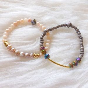 Jewelry - = boho stretch bracelet set of two =