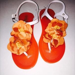 Orange Flower Jelly Sandals