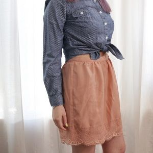 Blush Lace Trimmed Skirt