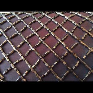 fc0dde7530e50 Vintage Bags - Copper Beaded Trellis Patterned Envelope Clutch