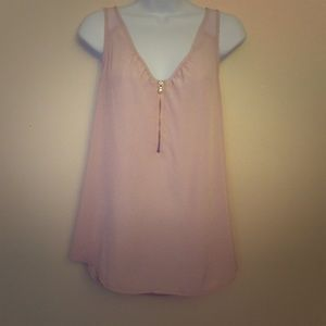 Pale Pink Zipper Tank top