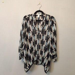 Vintage DVF silk print blouse!