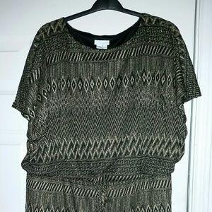 Black / Gold Knit Dress w/ Gathered Waist Size 20