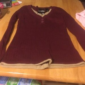 Axcess Sweaters - Maroon and tan sweater