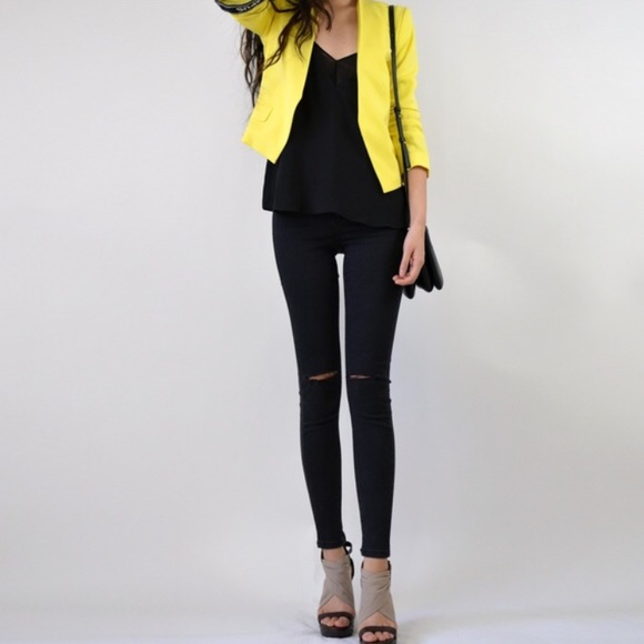 H&m Yellow Cropped Jacket