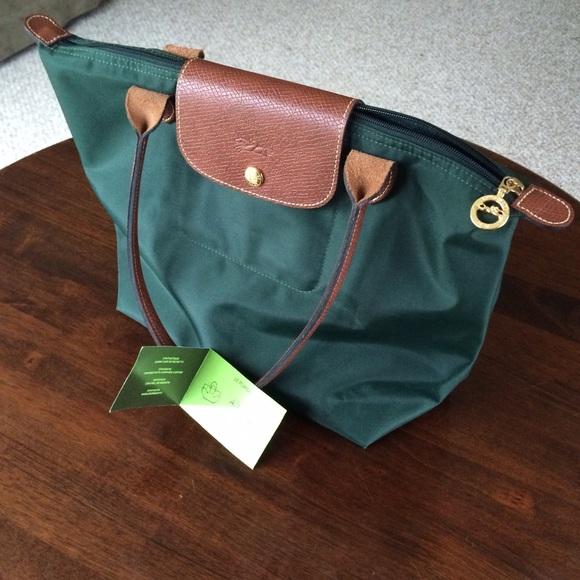 3b7d20308666 Longchamp Handbags - Hunter green Longchamp Le Pliage small tote bag