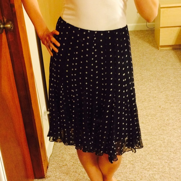 3e9b0b7aad8b4 E by Eci Dresses   Skirts - Navy 100% silk polka dot skirt