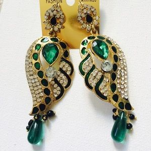 Emerald green & gold statement earrings