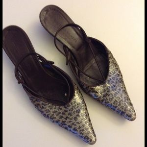 Bottega Veneta Sequined Animal Print Slingbacks