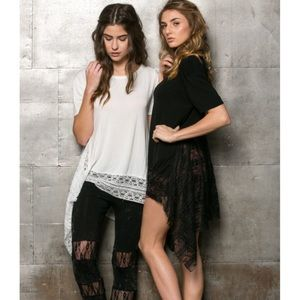 "Bare Anthology Tops - ""Hotel California"" Lace Hem Tee"