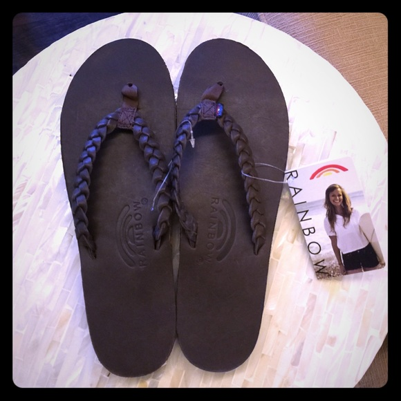 c1c2bbe541a Rainbow Twisted Sister Brown Leather Flip Flops NWT