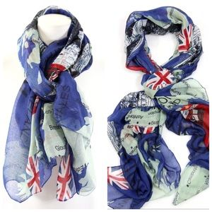 B145 London U.K. Map Double Decker Bus Blue Scarf