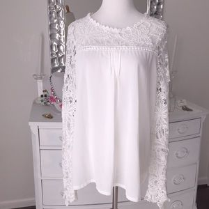 Sheer white lacy crochet top