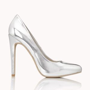 Forever 21 Silver Metallic Heels Pumps Shoes