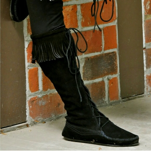 25% off Minnetonka Boots - Black minnetonka knee high fringe boots ...