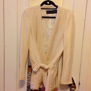 Zara Basic linen cream jacket. Size medium.