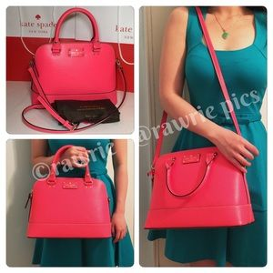 SALE New Kate Spade hot pink leather Satchel