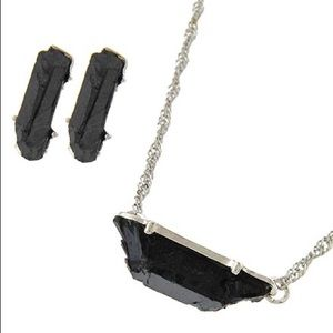 Black/Silver Rough Rock Pendant Necklace Set