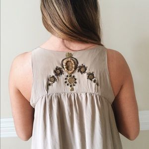 Free people embroidery silk top