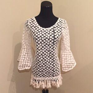 Tops - NEW Sheer Boho Fringed Tassle Bell Sleeve Tunic