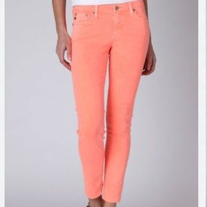 AG Stevie Ankle Slim Straight Leg Neon Orange Jean