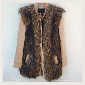 Rachel Zoe Faux Fur Jacket in Wheat