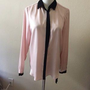 Zara pink with black detail blouse
