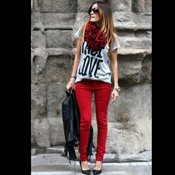 Red skinny jeans zara