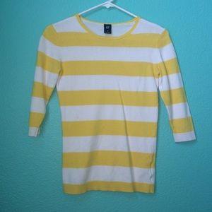 Gap Nautical Yellow & White Stripe Sweater XS