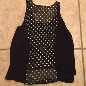 Black tank top with gold detailing on back