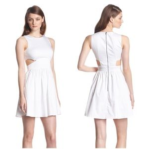 French Connection Cutout Fit & Flare White Dress