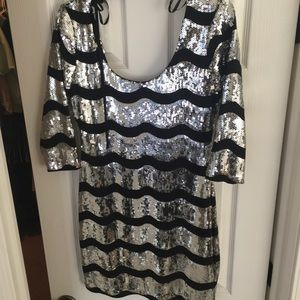 Sequin mini dress with tie neck Brand New