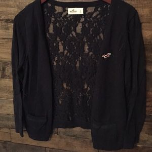 Hollister Sweaters - Dark blue/navy button up with full lace back