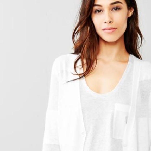 64% off GAP Sweaters - GAP White Cotton V-Neck Cardigan Button Up ...