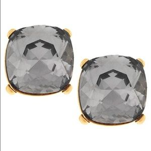 Gold Tone Black Diamond Button Post Earrings