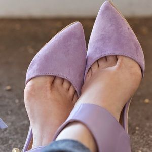 IMAN Lavender Suede Leather Pumps