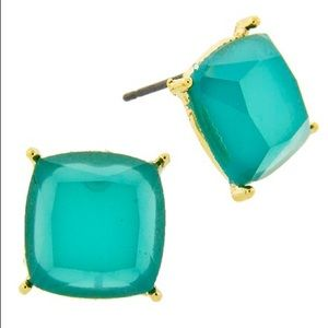 Gold Tone Faceted Teal Square Post Earrings