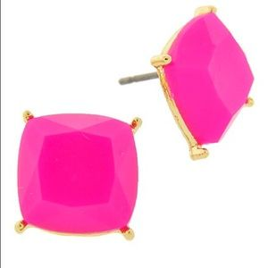 Gold Tone Juicy Magenta Button Posts
