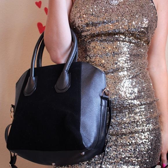 Tote velvet leather black vegan top handle NWT 843d96d2eaeed