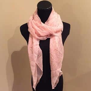 Accessories - NEW Sheer Pale Pink with Tan Henna Pattern Scarf