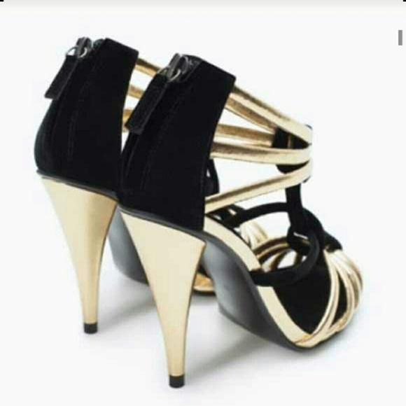 03dce22ff9e Zara Gold   black heels sandals new Size 8US 39EU