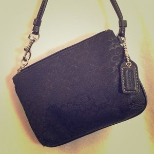 COACH Black Small Signature C's Canvas Wristlet