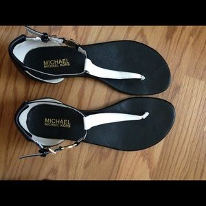 Michael Kors T strap sandals. Black and white.
