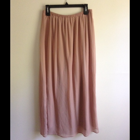 Urban Outfitters - Dusty Pink Maxi Skirt w/ elastic waist from ...