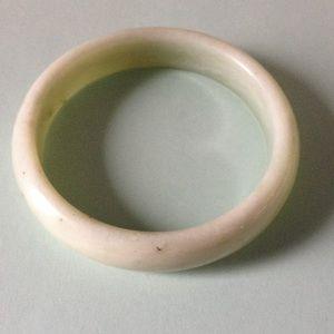 Natural White Green Jade Bangle