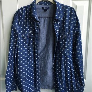 Old Navy Button Down W/Polka Dots
