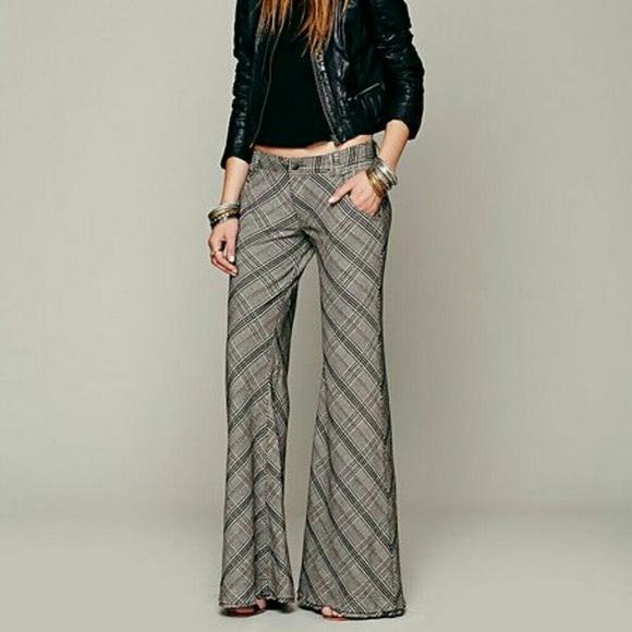 80% off Free People Pants - BNWOT - Free People Plaid Flare Pants ...
