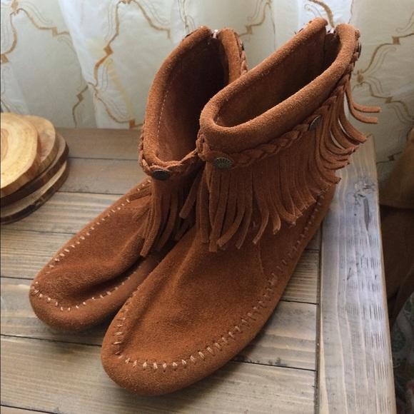 56% off Arizona Jean Company Shoes - Boho tan fringe ankle boots ...
